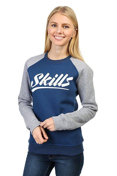 Толстовка классическая женская Skills College Blue/Gray<br><br>Цвет: серый,синий<br>Тип: Толстовка классическая<br>Возраст: Взрослый<br>Пол: Женский