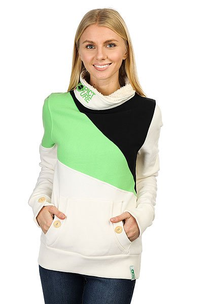 Толстовка кенгуру женская Picture Organic Muesli White/Green/Black<br><br>Цвет: белый,зеленый,черный<br>Тип: Толстовка кенгуру<br>Возраст: Взрослый<br>Пол: Женский