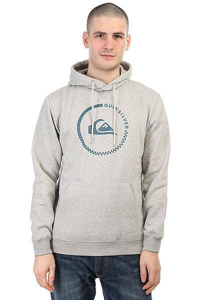 Толстовка кенгуру Quiksilver Big Logo Hood Light Grey Heather