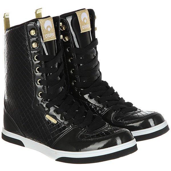 Кеды кроссовки высокие женские Osiris Uptown Limited Black/Gold/Quilted