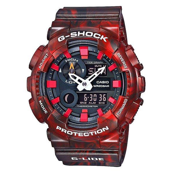 Электронные часы Casio G-Shock Gax-100mb-4a RedСтильный внешний облик в спортивных часах с расширенным набором функций.Технические характеристики: Автоматическая светодиодная подсветка.Ударопрочная конструкция защищает от ударов и вибрации.Устойчивость к воздействию магнитного поля.Термометр (-10°C / +60°C).Отображение данных о луне.Датчик приливов и отливов.Функция мирового времени.Функция секундомера - 1/100 сек - 1.000 часов.Таймер - 1/1 мин. - 24 часа.5 ежедневных будильников.Функция повтора будильника.Включение/выключение звука кнопок.Автоматический календарь.12/24-часовое отображение времени.Минеральное стекло.Корпус из полимерного пластика.Ремешок из полимерного материала.3 года - 1 аккумулятор.Водонепроницаемость (20 Бар).<br><br>Цвет: красный<br>Тип: Электронные часы<br>Возраст: Взрослый<br>Пол: Мужской