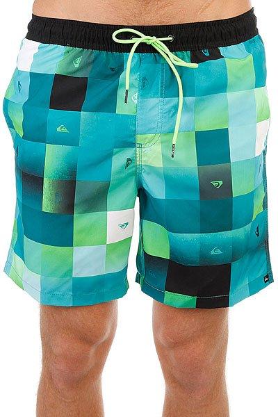 Шорты пляжные Quiksilver Checkmarkvoll17 Viridian Green<br><br>Цвет: зеленый,голубой<br>Тип: Шорты пляжные<br>Возраст: Взрослый<br>Пол: Мужской