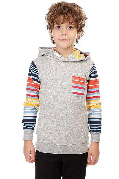 Толстовка классическая детская Quiksilver Swellhoodieboy Light Grey Heather<br><br>Цвет: серый,мультиколор<br>Тип: Толстовка классическая<br>Возраст: Детский
