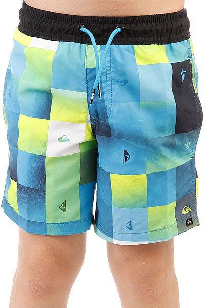 Шорты пляжные детские Quiksilver Checkmarkvly15 Bonnie Blue<br><br>Цвет: синий,желтый,зеленый<br>Тип: Шорты пляжные<br>Возраст: Детский