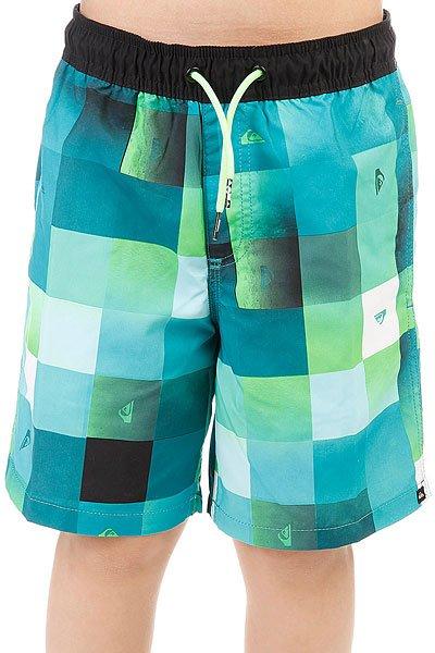 Шорты пляжные детские Quiksilver Checkmarkvly15 Viridian Green<br><br>Цвет: голубой,зеленый<br>Тип: Шорты пляжные<br>Возраст: Детский