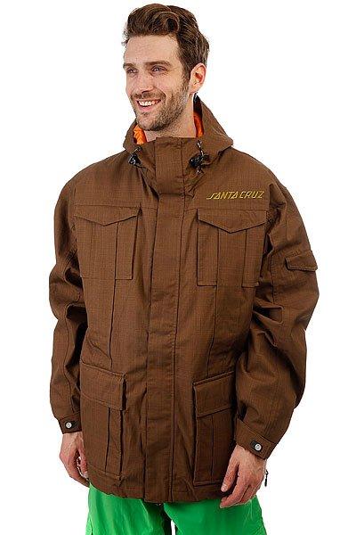 Куртка утепленная Santa Cruz Sc 08/09 Dodge BrownУниверсальная мужская куртка, которая создана для города и активного отдыха. Удобный крой, необходимые детали в виде карманов и съемной снежной юбки, позволят носить куртку хоть каждый день. А в более холодную погоду можно легко утеплиться дополнительным слоем одежды.Технические характеристики: Воздухопроницаемая подкладка из сетки и тафты.Регулируемый капюшон.Нагрудные карманы и карманы для рук.Вентиляционные отверстия на молнии с подкладкой из сетки.Эластичные манжеты на кнопке.Съемная снежная юбка.Подол на утяжке для регулировки объема и защиты от ветра.Застежка на молнии с ветрозащитным клапаном на липучках.Просторный крой, не сковывающий движений.<br><br>Цвет: коричневый<br>Тип: Куртка утепленная<br>Возраст: Взрослый<br>Пол: Мужской