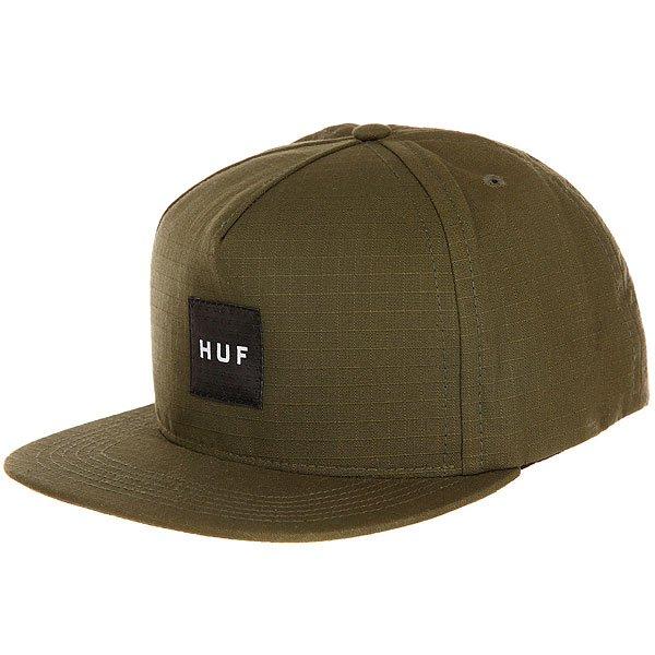 Бейсболка с прямым козырьком Huf Star Box Logo Green<br><br>Цвет: зеленый<br>Тип: Бейсболка с прямым козырьком<br>Возраст: Взрослый