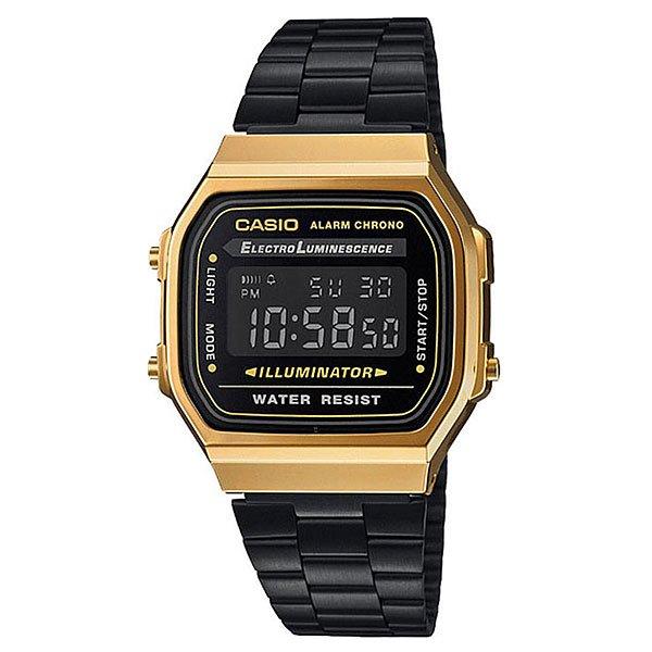 Электронные часы Casio Collection A168wegb-1b Black/GoldПростые и удобные в использовании часы на каждый день в популярном ретро-стиле. Характеристики:Благодаря электролюминесцентной панели, обеспечивающей освещение всего циферблата, облегчается считывание данных. В часах есть функция послесвечения - несколько секунда после того, как Вы нажали на кнопку подсветки, подсветка работает. Секундомер. Ежедневный будильник. После настройки автоматический календарь всегда отображает точную дату. 12/24-часовое отображение времени. Корпус часов изготовлен из полимерного пластика. Браслет изготовленный из нержавеющей стали придаёт часам классический вид. Регулируемое крепление. Аккумулятор обеспечивает питание часов и работу функций приблизительно на 7 лет. Мужские часы CASIOA168WEGB являются водонепроницаемыми и соответствуют DIN 8310 / ISO 2281, часы устойчивы к мелким брызгам. Любые контакты с большим количеством воды следует избегать.<br><br>Цвет: черный,желтый<br>Тип: Электронные часы<br>Возраст: Взрослый<br>Пол: Мужской