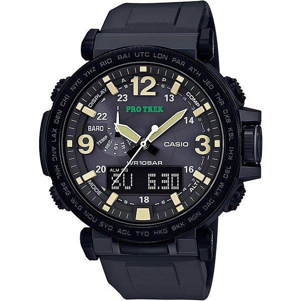 Электронные часы Casio Sport Prg-600y-1e BlackМужские наручные часы CASIO PRG-600-1ER пополнили популярную коллекцию наручных часов CASIO PRO TREK. Корпус изготовленный из полимерного пластика надёжно защищает кварцевый механизм часов, ремешок изготовлен из полимерного материала, минеральное стекло защитит циферблат от мелких царапин и повреждений. Водонепроницаемость 10 Бар (100 метров) позволяет купаться и нырять с маской и трубкой, бесперебойную работу часов обеспечивает солнечная батарейка. В тёмное время суток для отображения времени используется светодиодная подсветка. Характеристики:Светодиодная подсветка.Солнечная батарейка. Неоновый дисплей.Барометр.Термометр.Цифровой компас. Высотометр. Мировое время.Секундомер. Таймер. Будильник с функцией повтора.Включение/выключение звука кнопок. 12/24-часовое отображение времени. Календарь. Минеральное стекло.Корпус из полимерного пластика.Ремешок из полимерного материала.Индикатор уровня заряда батарейки.Водонепроницаемость 100 м.Кварцевый механизм часов обеспечивает точность хода +/- 20 сек в месяц.<br><br>Цвет: черный<br>Тип: Электронные часы<br>Возраст: Взрослый<br>Пол: Мужской