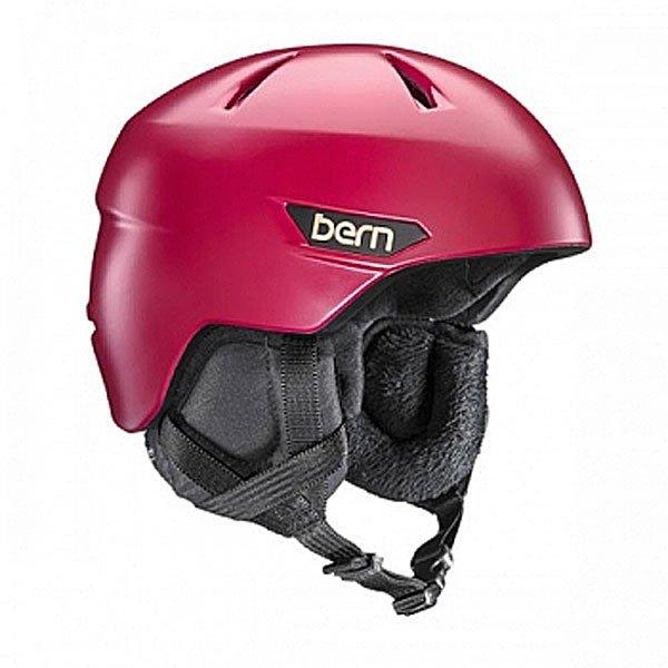 Шлем для сноуборда женский Bern Bristow Satin Cranberry Red/Black Canvas Liner  fit ультра