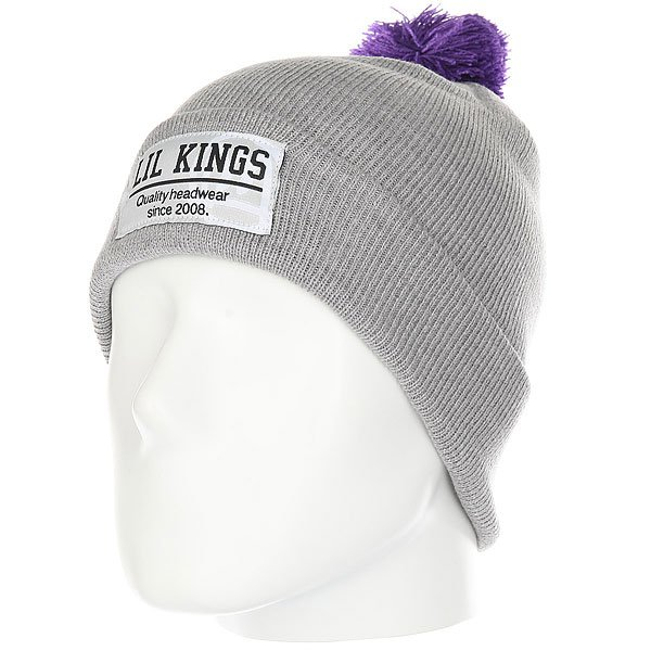 Шапка Lil Kings Pon-pon Contrast Grey<br><br>Цвет: серый,фиолетовый<br>Тип: Шапка<br>Возраст: Взрослый<br>Пол: Мужской