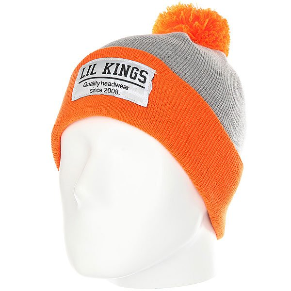 Шапка Lil Kings Pon-pon Contrast Orange<br><br>Цвет: серый,оранжевый<br>Тип: Шапка<br>Возраст: Взрослый<br>Пол: Мужской
