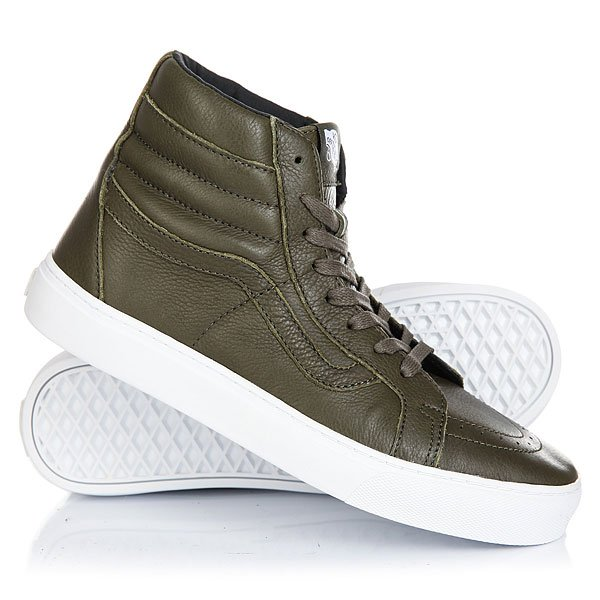 Кеды кроссовки высокие Vans Sk8-hi Cup leather Green<br><br>Цвет: зеленый<br>Тип: Кеды высокие<br>Возраст: Взрослый<br>Пол: Мужской