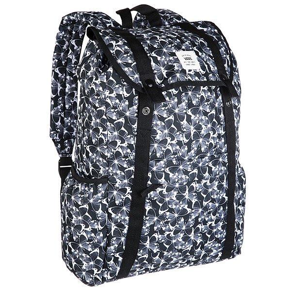 Рюкзак туристический женский Vans Caravaner Backpac Butterfly BlackВместительный и комфортный рюкзак для ежедневного использования – он неизменно станет вашим наилучшим другом. Характеристики:Основное отделение с утяжкой. Застежка-накладка на кнопках. Смягченный карман для лэптопа. Передний карман-органайзер на молнии. Регулируемые мягкие лямки. Ручка для ношения в руках.Фирменная нашивка Vans. Фирменный ярлык Vans.<br><br>Цвет: черный,серый<br>Тип: Рюкзак туристический<br>Возраст: Взрослый<br>Пол: Женский