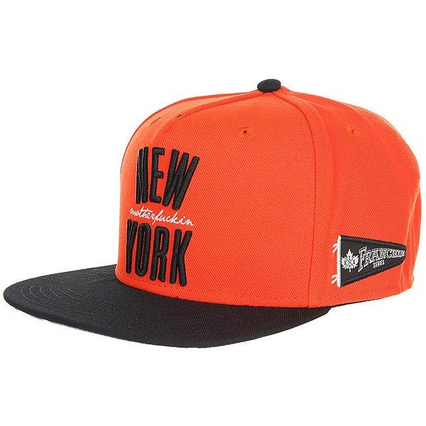Бейсболка с прямым козырьком K1X Ny Franchise Snapback Cap Black/Orange<br><br>Цвет: черный,оранжевый<br>Тип: Бейсболка с прямым козырьком<br>Возраст: Взрослый