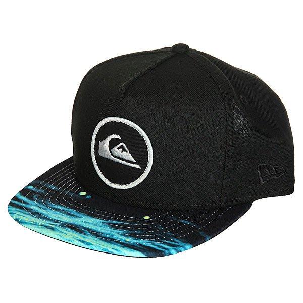 Бейсболка с прмым козырьком Quiksilver Aquablunt Black<br><br>Цвет: черный,голубой<br>Тип: Бейсболка с прмым козырьком<br>Возраст: Взрослый