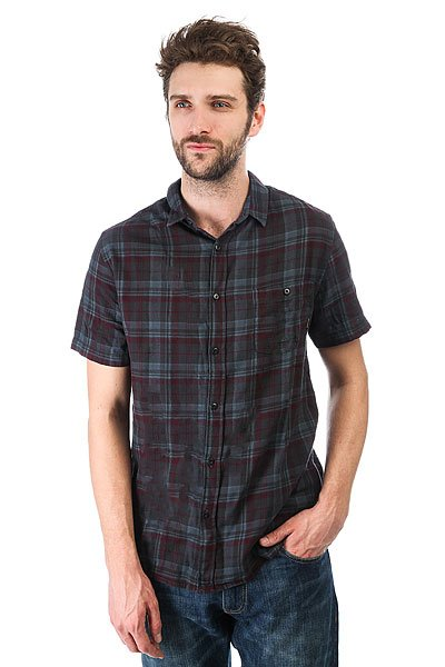 Рубашка в клетку Quiksilver Phaserset Tarmac Phaser Set<br><br>Цвет: серый,бордовый<br>Тип: Рубашка в клетку<br>Возраст: Взрослый<br>Пол: Мужской