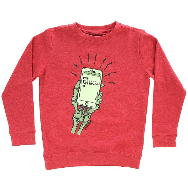 Толстовка классическая детская Quiksilver Offshorecrewyth Chili Pepper<br><br>Цвет: бордовый<br>Тип: Толстовка классическая<br>Возраст: Детский