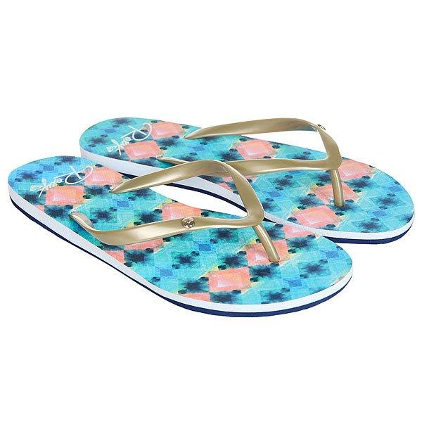 Вьетнамки женские Roxy Portofino Blue/White Print<br><br>Цвет: голубой,розовый<br>Тип: Вьетнамки<br>Возраст: Взрослый<br>Пол: Женский