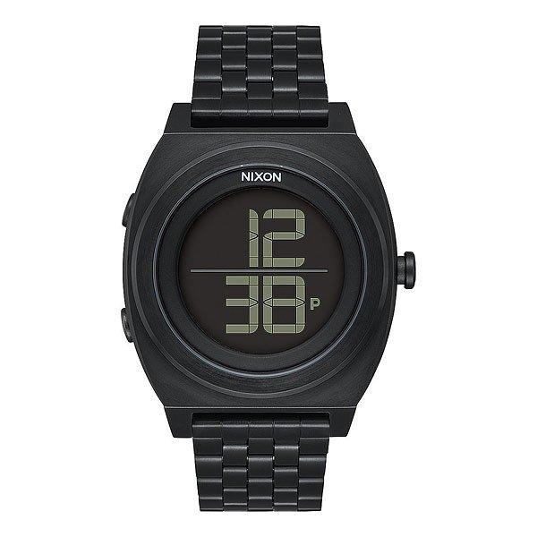 Электронные часы Nixon Time Teller Digi BlackЛаконичный дизайн дисплея в сочетании сгладким силиконовым ремешком делает эти часы идеальными в своей простоте линий. Nixon Time Teller не перегружены лишней информацией и ненужными деталями. На дисплей выводится время в 12 или в24-часовом формате. Мягкий силиконовый ремешок добавит комфорта во время носки, а Вам останется только выбрать свой цвет!Характеристики:Цифровой модуль.Функции: часы, минуты, секунды, календарь (до 2099 года), 12/24-часовое отображение времени, хронограф. Дисплей: функция инвертирования ЖК-дисплея.Люминисцентная подсветка. Цельный корпус с привинчиваемой крышкой.Безель: фиксированный из поликарбоната. Тройное уплотнение кнопок.Крышка из нержавеющей стали. Минеральное стекло.Водонепроницаемость: 100 метров / 10 ATM. Ультра-мягкий силиконовый браслет. Прочная пряжка из поликарбоната.<br><br>Цвет: черный<br>Тип: Электронные часы<br>Возраст: Взрослый<br>Пол: Мужской