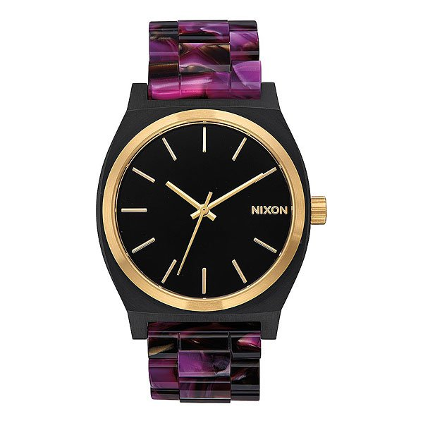 Кварцевые часы женские Nixon Time Teller Acetate Multi/Black/Gold часы nixon corporal ss matte black industrial green