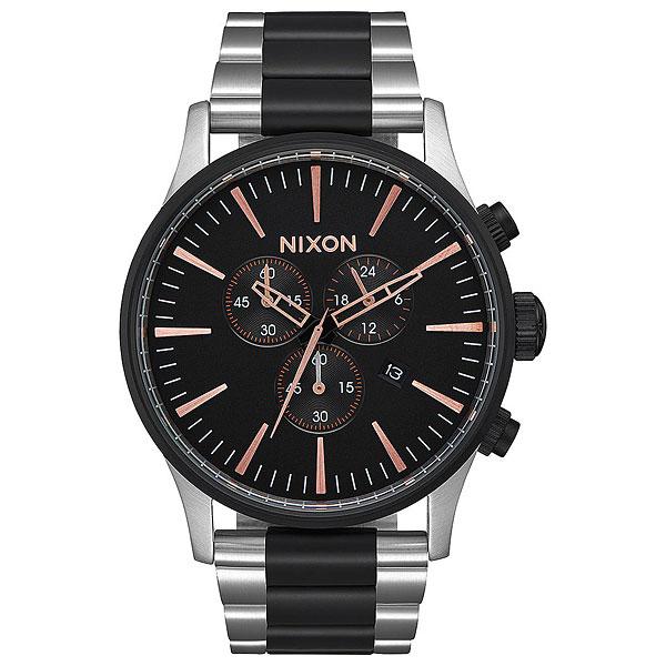 Купить со скидкой Кварцевые часы Nixon Sentry Chrono Black/Rose Gold