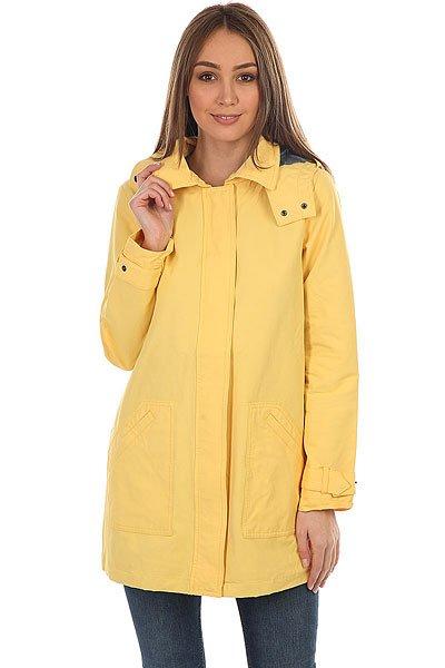 Куртка женская Roxy Gilipeak Banana CreamЖенский дождевик с капюшоном Gili Peak из новой коллекции Roxy.Технические характеристики: Длинный прямой крой.Водоотталкивающая ткань из хлопка и нейлона.Крупные передние карманы.Съемный капюшон.Застежка на молнии с ветрозащитным клапаном.<br><br>Цвет: желтый<br>Тип: Куртка<br>Возраст: Взрослый<br>Пол: Женский