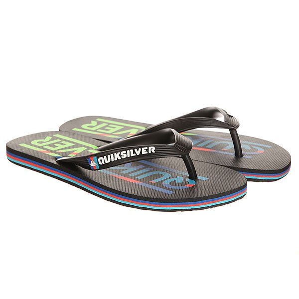 Вьетнамки Quiksilver Molokai Wordmar Black/Blue/Red вьетнамки quiksilver java wordmark black blue