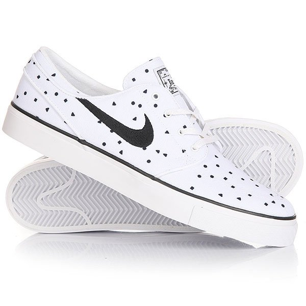 Кеды кроссовки низкие Nike Zoom Stefan Janoski Cnvs Prm White/BlackВсе модели Nike созданные в коллаборации с легендарным скейтбордистом Стефаном Яноски (Stefan Janoski) сочетают в себе яркий дизайн и набор непревзойденных характеристик. Гибкая вулканизированная подошва с цепким протектором обеспечивают идеальный контроль доски и позволяют выполнять более сложные элементы.Характеристики:Про-модель Stefan Janoski. Мягкая стелька. Технология Nike Zoom Air - амортизирующая вставка в пятке для дополнительного комфорта. Уплотненный нос. Металлические люверсыдля шнурков.Вулканизированная конструкция. Гибкая резиновая подошва. Цепкий протектор ёлочка.Фирменный логотип Nike сбоку и на язычке.<br><br>Цвет: белый,черный<br>Тип: Кеды низкие<br>Возраст: Взрослый<br>Пол: Мужской