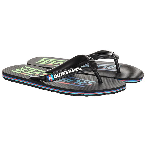 Вьетнамки детские Quiksilver Molokaiwordyout Black/Blue/Red вьетнамки quiksilver java wordmark black blue