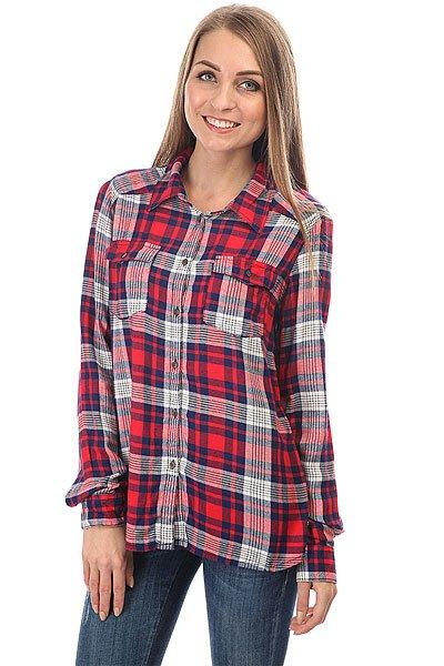 Рубашка в клетку женская Roxy Plaidonyou Hibiscus Pinetree<br><br>Цвет: красный,синий<br>Тип: Рубашка в клетку<br>Возраст: Взрослый<br>Пол: Женский