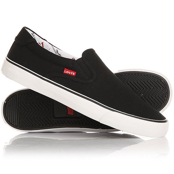 Слипоны Levis Justin Slip On Regular Black levis 501 по интернету