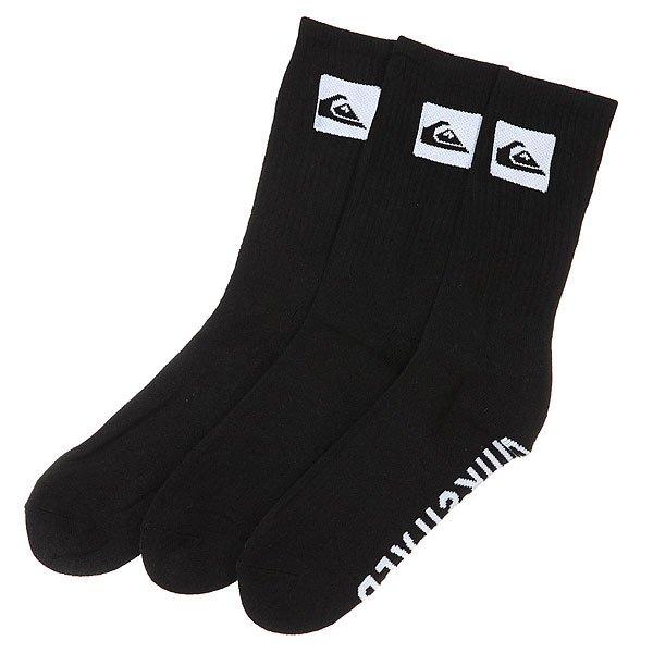 Носки средние Quiksilver 3 Pack Crew Black<br><br>Цвет: черный<br>Тип: Носки средние<br>Возраст: Взрослый<br>Пол: Мужской