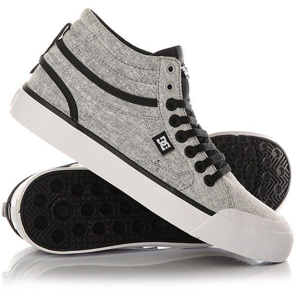 Кеды кроссовки высокие женские DC Shoes Evan Txse Black/Charcoal кеды кроссовки высокие женские dc evan hi tx se denim