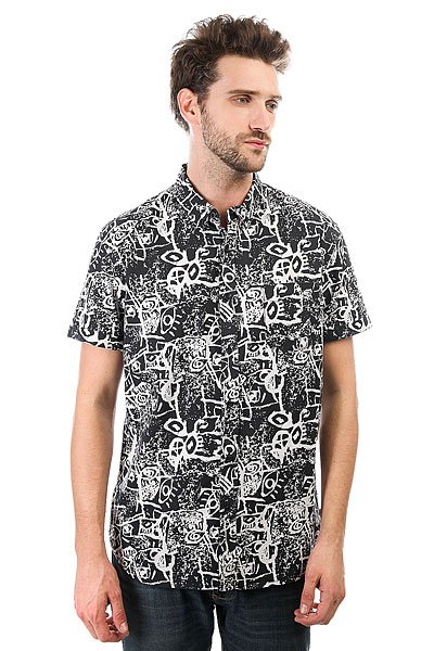 Рубашка Quiksilver Hypnosisshirt Black Hypnosis<br><br>Цвет: черный,белый<br>Тип: Рубашка<br>Возраст: Взрослый<br>Пол: Мужской