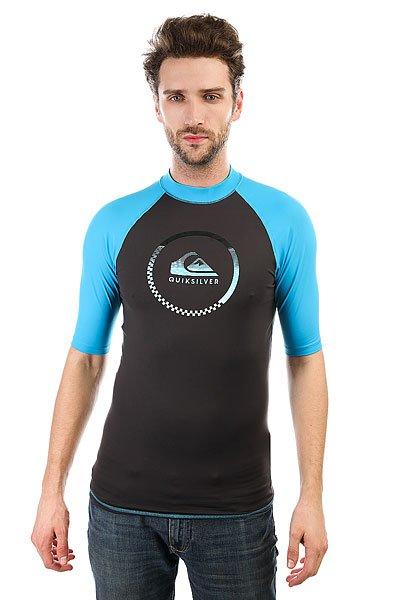Гидрофутболка Quiksilver Activess Tarmac/ Blue DanubeМужской серфовый топ от Quiksilver. Характеристики:Фактор защиты от солнечного УФ излучения UPF 50+.Облегающий крой, мягкий. Удобный и прочный эластичный полиэстер. Превосходно сохраняет форму и цвет на протяжение срока службы.<br><br>Цвет: черный,синий<br>Тип: Гидрофутболка<br>Возраст: Взрослый<br>Пол: Мужской