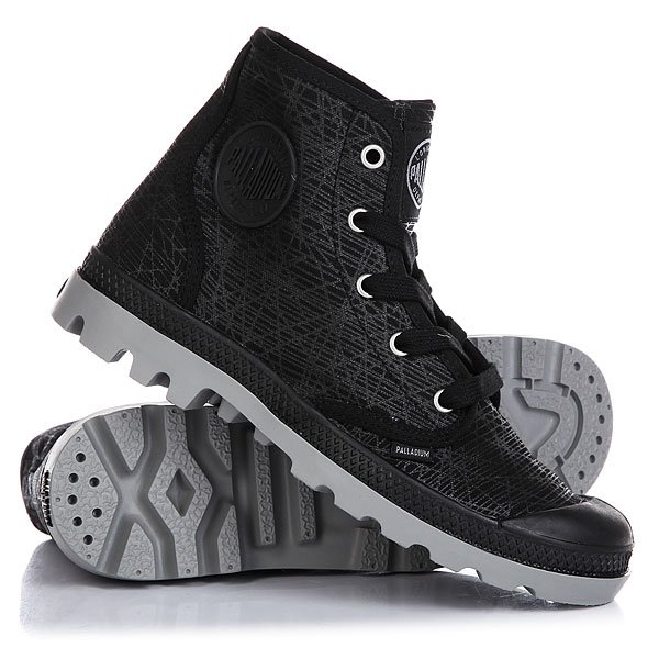 Ботинки высокие женские Palladium Pampa Hi Black/Wild Dove/Spider Print
