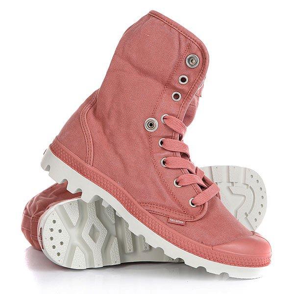Ботинки высокие женские Palladium Baggy Bruschetta/Silver BirchГулять по городским улицам в стильных ботинках Baggy гораздо интереснее, потому как можно менять стиль лишь с помощью воротника. Высококачественные ботинки из хлопка со стелькой из EVA для надежной поддержки ноги.Технические характеристики: Верх и подкладка из хлопка.Стелька из  EVA для комфорта.Прорезиненный носок для дополнительной прочности.Воротник с логотипом на кнопках.Литая резиновая подошва с EVA.<br><br>Цвет: розовый<br>Тип: Ботинки высокие<br>Возраст: Взрослый<br>Пол: Женский
