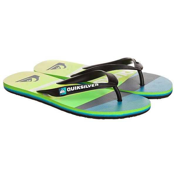 Вьетнамки Quiksilver Molokaislashlog Black/Green/Blue вьетнамки quiksilver java wordmark black blue