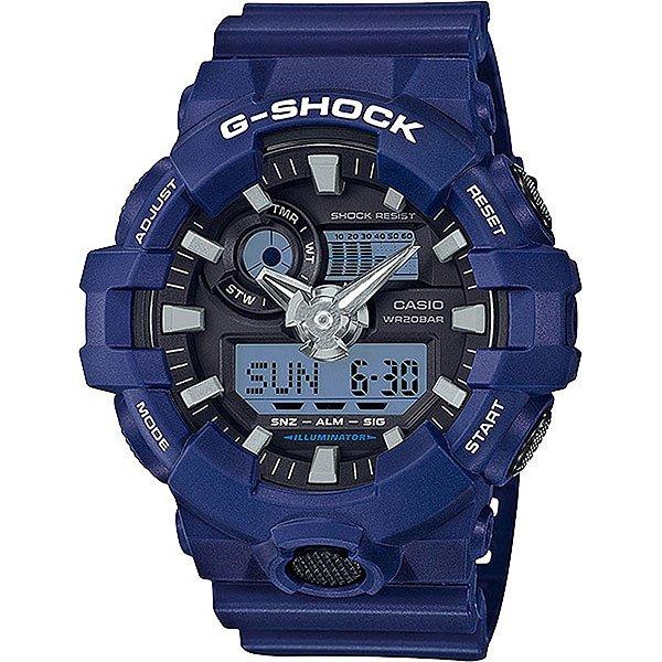 Кварцевые часы Casio G-Shock 67666 Ga-700-2aМногофункциональные наручные часы в корпусе из полимерного пластика с увеличенным сроком службы аккумулятора.Технические характеристики: Сверх яркая подсветка.Ударопрочная конструкция защищает от ударов и вибрации.Функция мирового времени.Функция секундомера- 1/100 сек. - 24 часа.Таймер - 1/1 мин. - 1 час.5 ежедневных будильников.Функция повтора будильника.Включение/выключение звука кнопок.Функция перемещения стрелок.Автоматический календарь.12/24-часовое отображение времени.Минеральное стекло.Корпус из полимерного пластика.Ремешок из полимерного материала.Срок службы аккумулятора 5 лет.<br><br>Цвет: синий<br>Тип: Кварцевые часы<br>Возраст: Взрослый<br>Пол: Мужской