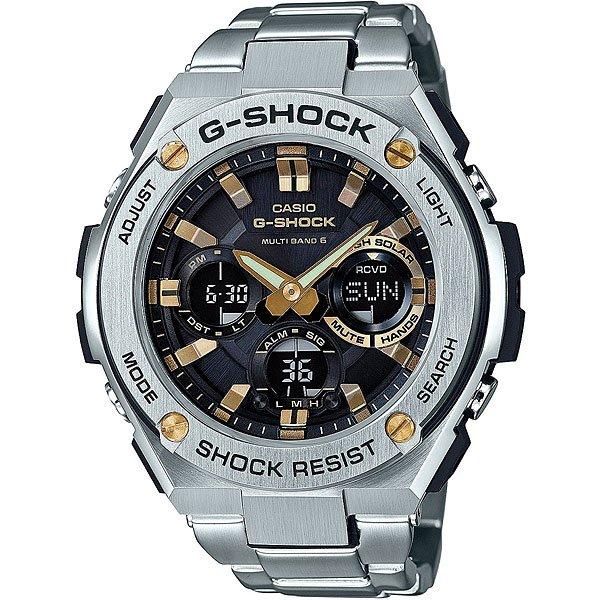 Кварцевые часы Casio G-Shock 67676 Gst-w110d-1a9Часы, в которых объединились классика и спортивный стиль, удобные функции, а также тонкое сочетание пластика и нержавеющей стали.Технические характеристики: Полностью автоматическая светодиодная подсветка.Ударопрочная конструкция защищает от ударов и вибрации.Солнечная батарейка.Прием радиосигнала (Европа, США, Япония, Китай).Неоновый дисплей.Функция мирового времени.Функция секундомера - 1/100 сек. - 1 час.Таймер – 1/1 сек. – 100 минут.5 ежедневных будильников.Включение/выключение звука кнопок.Функция перемещения стрелок.Автоматический календарь.12/24-часовое отображение времени.Минеральное стекло.Корпус из нержавеющей стали и полимерного пластика.Браслет из нержавеющей стали.Предохранительная защелка.Индикатор уровня заряда батарейки.<br><br>Цвет: серый<br>Тип: Кварцевые часы<br>Возраст: Взрослый<br>Пол: Мужской