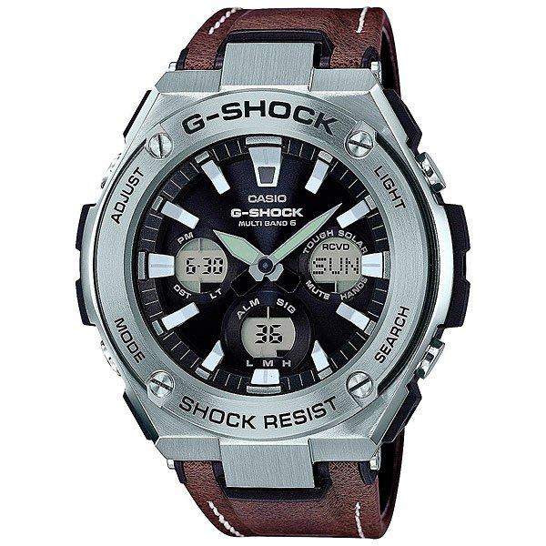 Кварцевые часы Casio G-Shock 67680 Gst-w130l-1aЧасы, в которых объединились классика и спортивный стиль, удобные функции, а также тонкое сочетание пластика, нержавеющей стали и кожи.Технические характеристики: Полностью автоматическая светодиодная подсветка.Ударопрочная конструкция защищает от ударов и вибрации.Солнечная батарейка.Прием радиосигнала (Европа, США, Япония, Китай).Неоновый дисплей.Функция мирового времени.Функция секундомера - 1/100 сек. - 1 час.Таймер – 1/1 сек. – 100 минут.5 ежедневных будильников.Включение/выключение звука кнопок.Функция перемещения стрелок.Автоматический календарь.12/24-часовое отображение времени.Минеральное стекло.Корпус из нержавеющей стали и полимерного пластика.Кожаный ремешок.Индикатор уровня заряда батарейки.<br><br>Цвет: коричневый,серый<br>Тип: Кварцевые часы<br>Возраст: Взрослый<br>Пол: Мужской
