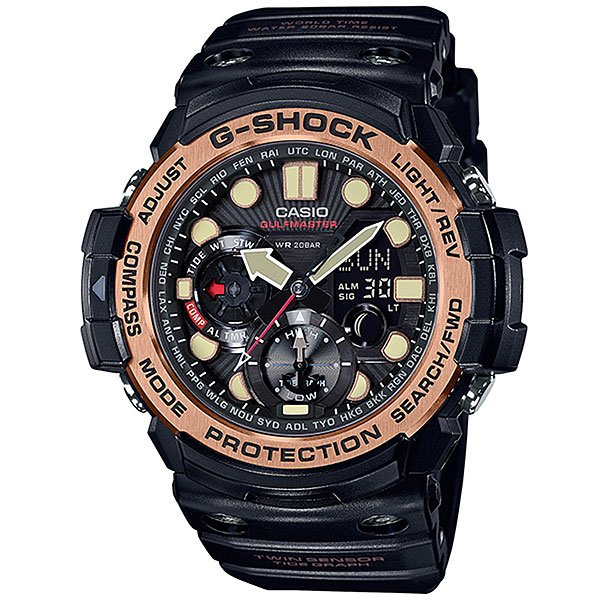 Кварцевые часы Casio G-Shock Premium 67682 Gn-1000rg-1aНаручные часы, которые точно понравятся серферам или просто путешественникам. У них есть все: термометр, отображение данных о приливах и отливах, а еще несколько удобных функций на каждый день.Технические характеристики: Сверхмощная полностью автоматическая светодиодная подсветка.Ударопрочная конструкция защищает от ударов и вибрации.Цифровой компас.Термометр (-10°C / +60°C).Отображение данных о луне.Датчик приливов и отливов.Функция мирового времени.Функция секундомера - 1/100 сек. - 1 час.Таймер - 1/1 мин. - 1 час.5 ежедневных будильников.Функция перемещения стрелок.Включение/выключение звука кнопок.Автоматический календарь.12/24-часовое отображение времени.Минеральное стекло.Корпус из полимерного пластика.Ремешок из полимерного материала.Срок службы аккумулятора 2 года.<br><br>Цвет: черный<br>Тип: Кварцевые часы<br>Возраст: Взрослый<br>Пол: Мужской
