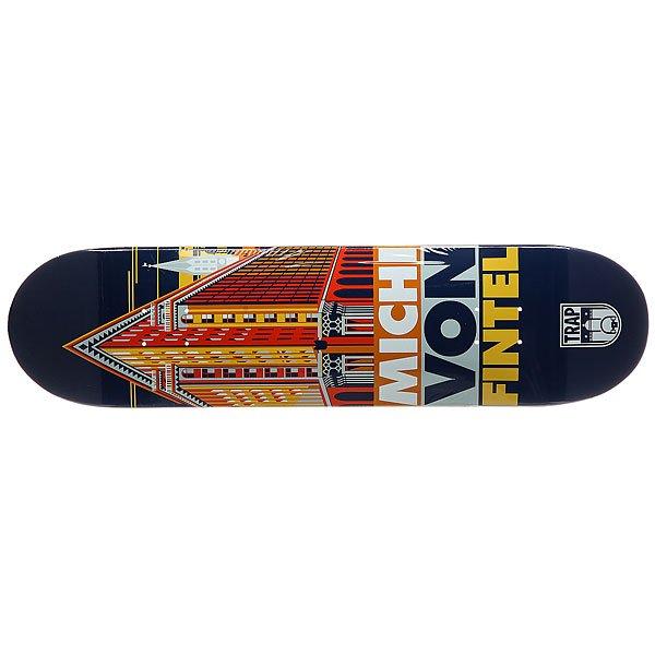 Дека для скейтборда для скейтборда Trap Mvf Pro City Series Blue/OrangeШирина деки: 8 (20.3 см)    Длина деки: 31.875 (81 см)    Количество слоев: 7<br><br>Цвет: синий,оранжевый<br>Тип: Дека для скейтборда<br>Возраст: Взрослый<br>Пол: Мужской
