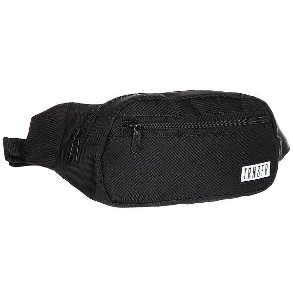 Сумка поясная Transfer Ninja BlackКомпактная сумка на пояс с  карманами и регулируемым ремешком. Универсальный дизайн для спорта и активного отдыха.Технические характеристики: Одно отделение и два внешних кармана на молнии.Регулируемый ремешок с пластиковой застежкой.Компактный дизайн украшенный логотипом бренда Transfer.<br><br>Цвет: черный<br>Тип: Сумка поясная<br>Возраст: Взрослый<br>Пол: Мужской