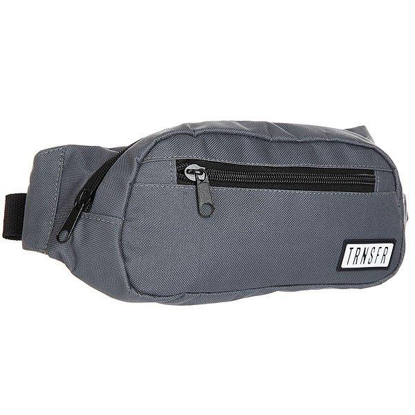 Сумка поясная Transfer Ninja GreyКомпактная сумка на пояс с  карманами и регулируемым ремешком. Универсальный дизайн для спорта и активного отдыха.Технические характеристики: Одно отделение и два внешних кармана на молнии.Регулируемый ремешок с пластиковой застежкой.Компактный дизайн украшенный логотипом бренда Transfer.<br><br>Цвет: серый<br>Тип: Сумка поясная<br>Возраст: Взрослый<br>Пол: Мужской