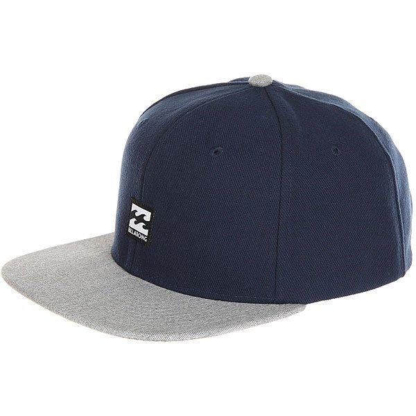 Бейсболка с прямым козырьком Billabong Primary Snapback Navy<br><br>Цвет: серый,синий<br>Тип: Бейсболка с прямым козырьком<br>Возраст: Взрослый