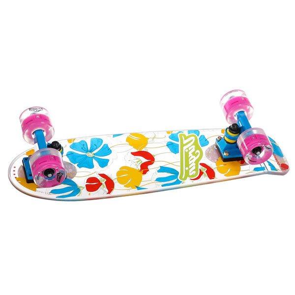 Скейт мини круизер Virgin Flowers Clear/Blue/Pink 6.5 x 22.4 (57 см)Прозрачный мини круизер Virgin с потрсащим Surf-ффектом. Попробуй совершенно новые ощущени от катани! За счет использовани уникального монолитного материала, Virginboards имет особенный флекс, и при езде создаетс неверотное ощущение катани на волнах.Технические характеристики:  Тип - городской круизер. Пожизненна гаранти на дку (не вклчает комплектущие) . Материал -  сверхпрочный монолитный поликарбонат. Размер дки - 57 х 16,5 см. Маневренные аллминевые подвески Virgin. Подшипники - Abec 7. Светщиес колеса жесткость 78А. Питание: Без батареек. До 100 000 часов работы. Диаметр колес - 60мм<br><br>Цвет: белый,синий,розовый<br>Тип: Скейт мини круизер<br>Возраст: Взрослый<br>Пол: Мужской