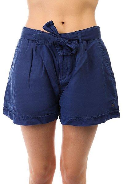 Шорты классические женские Roxy Happyend Blue Depths<br><br>Цвет: синий<br>Тип: Шорты классические<br>Возраст: Взрослый<br>Пол: Женский