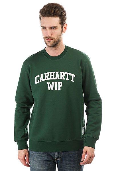 Толстовка классическая Carhartt Sporty Sweatshirt Fir/White<br><br>Цвет: зеленый<br>Тип: Толстовка классическая<br>Возраст: Взрослый<br>Пол: Мужской